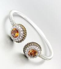 GORGEOUS Silver Cable Balinese Gold Dots Brown Topaz CZ Crystal Cuff Bracelet 98