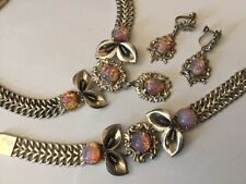 MEXICO TAXCO STERLING SILVER NECKLACE BRACELET COLLAR EARRINGS PARURE ART GLASS