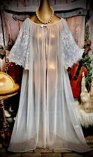 Vintage Sheer Chiffon Caftan Nightie Coat Gown Embroidered Lace Sexy Robe 2X XXL
