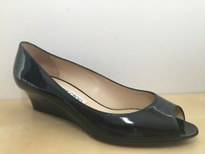 Jimmy Choo Black Patent Leather Peep Toe Wedge Shoe EUR 40.5 US 10