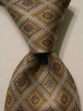 BLACK BROWN 1826 Men's 100% Silk Necktie Designer Geometric Gray/Tan/Blue NWT