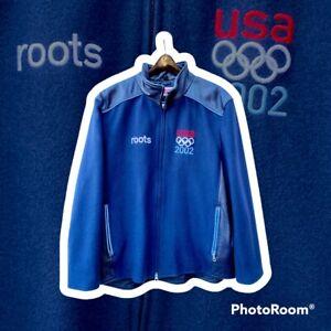 Vintage Roots 2002 USA Olympics Wool Leather Varsity Jacket Mens Size Large