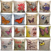 18'' Retro Design Cushion Cover  Butterflies Floral Home Decor Pillow Cases New