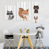Woodland Animal Baby Fox Deer Canvas Poster Nursery Wall Art Print for Kids Room