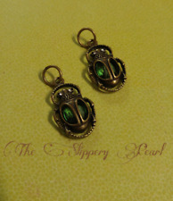 2 Scarab Charms Antiqued Bronze Jeweled Pendants Beetle Egyptian