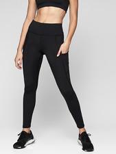ATHLETA All In Tight Leggings LT L TALL Black | Running Workout FULL LENGTH New