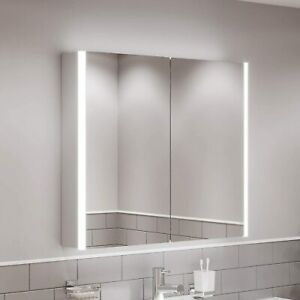 Artis Modern Bathroom Double Door LED Mirror Wall Cabinet, White
