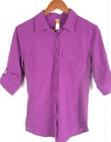 LUCY womens size S purple 3/4 sleeve button down side panel stretch shirt top