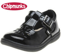 KIDS GIRLS BLACK LEATHER CHIPMUNKS TRIXIE SCHOOL INFANT / JUNIOR SHOES SIZES 6-2