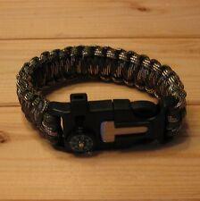 Men's Survival Bracelet Cord Wristband Rescue Rope Compass Flint fire Whistle
