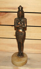 Vintage hand made metal figurine Egyptian pharaoh with marble base