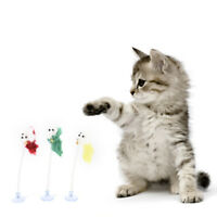 1PC Funny Interactive Cat Pet Toys Multicolored sucker with spring plush mouseNJ