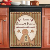 Country Primitive Decor Kitchen Dishwasher Magnet - Cute Gingerbread Man #2