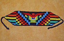 Handmade Glass Seed Bead Loom Work Thunder Bird Beadwork Bracelet, Colombia