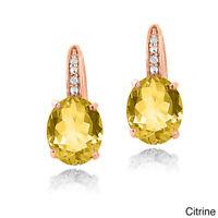 "2.78 Ct Oval Yellow Citrine White Topaz 14K Rose Gold Earrings ITALY 1.1"""