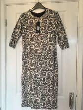 Stella Morgan Body-con Stretchy Paisley Beige Dress Size 14 ⭐️New⭐️