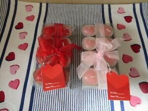 2 16 piece Sets Valentine Decor Tea Lite Candles Red & Pink Heart Insets NIP