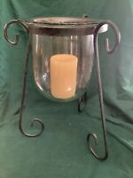 """Glass And Black Wrought Iron Pillar Candle Holder 12"""" Tall"""