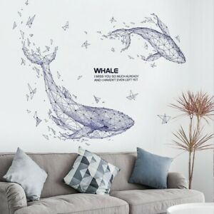 """Huge DIY Two Blue Whale PVC Vinyl Removable Nursery Mural Decal Wall Sticker 38"""""""
