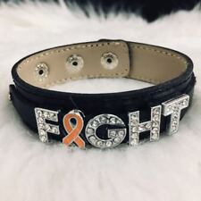 Orange Ribbon bling Bracelet Leukemia Multiple Sclerosis Kidney Cancer Jewelry