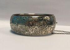 Birks Victorian Revival Sterling Silver Chunky Bangle Bracelet c.1930's Canada