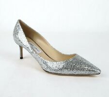 Jimmy Choo Romy 60 Women's Silver Glitter Fabric Heel Pumps GFA247