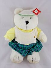 """Bearland White Bear Plush Tennis Outfit Jointed 14"""" 1985 Korea"""