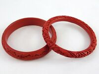 Vintage Lot of 2 Chinese Carved Red Cinnabar Bangles Flowers Dragon Bracelets