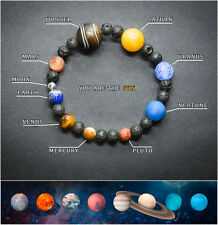 Solar System Bracelet. Healing Planet Stones Beads. Universe Jewellery Bangle.