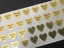 """108 Gold Foil Mini Heart Shaped Thank You Stickers Labels 0.75"""" Envelope Seals"""