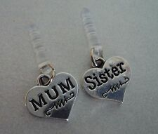 ENGRAVED IN BLACK SILVER MUM OR SISTER ANTI DUST EARPHONE PLUG CHARM IPHONE ETC