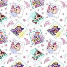 New listing Shopkins Shoppies Framed White 100% Cotton Fabric by The Yard