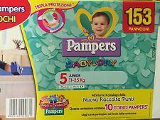 PAMPERS BABY DRY TAGLIA 5 JUNIOR 11-25 KG SUPERSCORTA 153 PANNOLINI BOX OMAGGIO