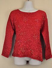 Crinkle Top Red Floral Sequin Blouse S Rafael Essential Lightweight Holiday