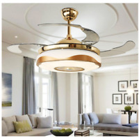 42'' Modern Fan Chandelier Ceiling Fan Light Bluetooth Remote Music Player