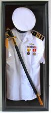 Military Shadow Box Uniform Sword Gun Display Case Frame Cabinet-FC44(RD)-BL