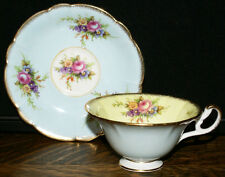 Vintage Foley Bone China Pastel Yellow & Blue Floral Bouquet Cup and Saucer