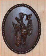 "GERMAN BLACK FOREST CARVED ANTIQUE PLAQUE OF GAME ANIMALS 17"" x 14"" folk art"