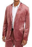 INC Mens Blazer Pink Size XL Velvet Slim Fit Two-Button Notched $149 #286