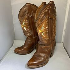 Vtg Miss Capezio Brown Leather Butterfly Western Cowboy Boots 5.5 M