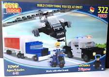 BEST-LOCK 322 PIECE POLICE SET CAR,TRUCK,HELICOPTER 3 FIGURES ~Clearance Price~