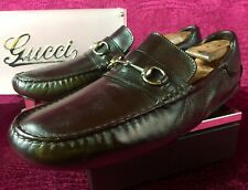 $690 Mens Brown Gucci Bit Leather Loafers Sz 11.5 G / 12.5 US Made In ITALY