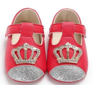 New Arrival Baby Girl Crib Shoes Princess T-Bar Crown Dress Shoes Newborn to 18M