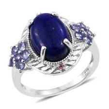 Lapis, Tanzanite, Pink Tourmaline Platinum On St.Silver Ring Sz 6 TGW8..4cts NWT