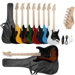 Glarry Beginner Electric Guitar Package Case Strap Bag Bar Black/Sunset/White