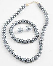 """3pc Bridal Classic16-18"""" 8mm Faux Gray Grey Pearl Necklace Bracelet Earring"""