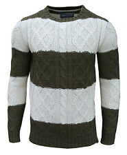 Soul Star Men's Ham 1 Striped Crew Neck Cable Knit Two Tone Jumper Top Olive Medium / Chest 38-40 Inch