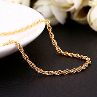 New 18K Gold GP Twisted Rope 1.5mm Charm Necklace Chain Stunning  26'' / 70cm