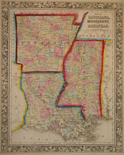 1860 Genuine Antique Map of Lousiana, Mississippi & Arkansas. A Mitchell