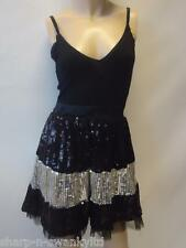 Ladies Black/Silver Sequinned Strappy Mini Party Dress UK 8 EU 36